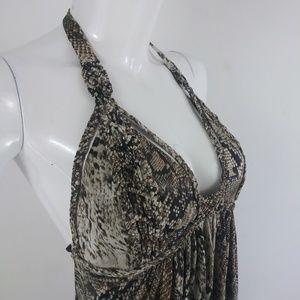 Sky brand snake print halter maxi dress - Large